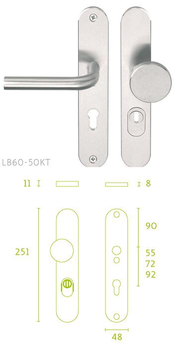 - Placa escudo de cerradura con manivela LBIII