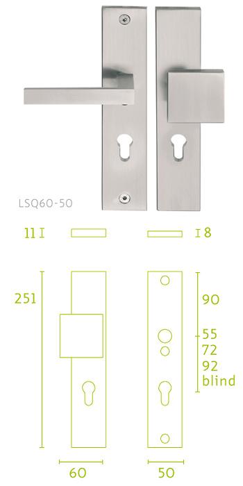 - Placa escudo de cerradura con manivela LSQII Pera