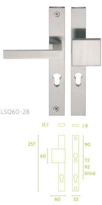 - Placa de 32, escudo de cerradura con manivela LSQII Pera