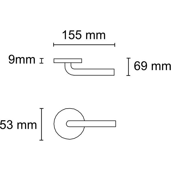 Juego de manivela curva final tubular de inox con roseta