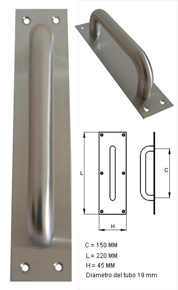 Manillon de acero inoxidable con placa de 150 mm