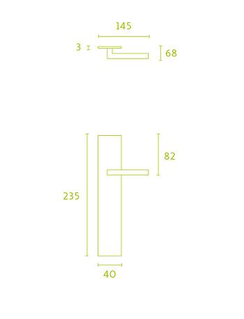 Manivela de placa, de inox macizo serie Square de Formani, maneta cubica.