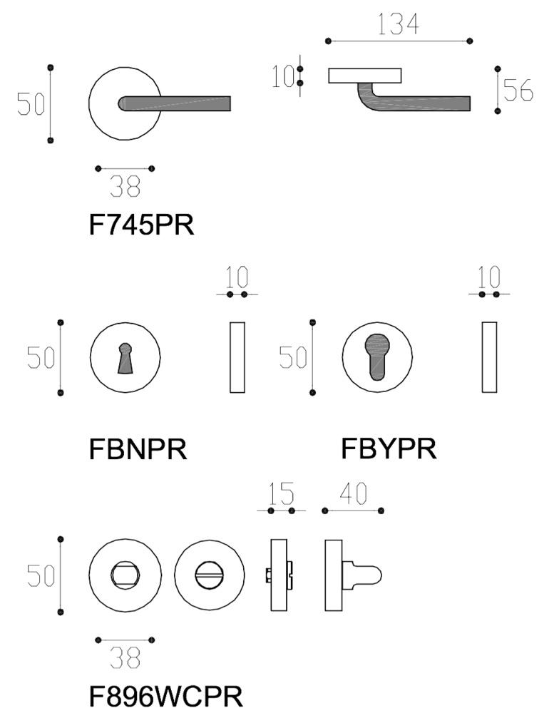 Manivela de roseta mod Modulo L diseño Studio Frascio