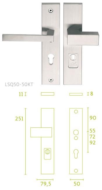 - Placa escudo de cerradura con manivela LSQII y bocallave giratorio