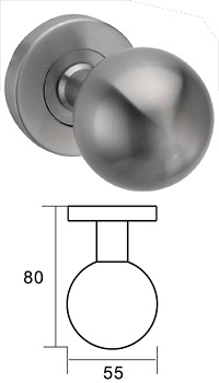 Pomo de puerta hueco en bola de acero inoxidable diametro 55