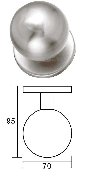 Pomo de puerta hueco en bola de acero inoxidable diametro 70