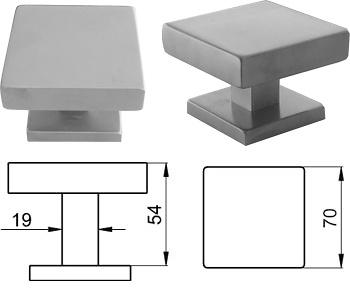 Pomo fijo de puerta de entrada basic square cuadrado70