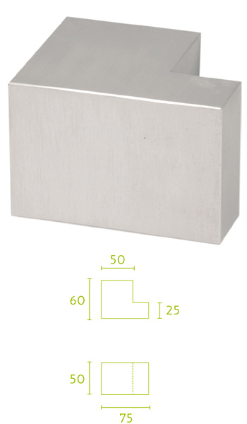 - Pomo de entrada exterior de inox rectangular