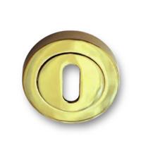 Bocallave oval en dorado para puerta de entrada o de paso.