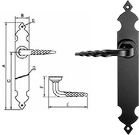 Manivela de placa tipo castellano rustico de forja negra lisa.