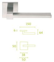 Manivela en acero inoxidable cuadrada con diseño simple y lineas muy limpias.