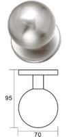 Pomo de puerta de inoxidable de bola hueco, diametro 70mm