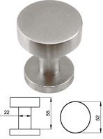 Pomo fijo de puerta de entrada serie Basic redondo de 52 mm