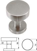 Pomo fijo de puerta de entrada serie Basic redondo de 70 mm