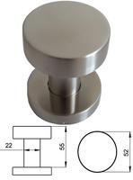 Pomo giratorio de acero inoxidable con agarre plano circular.