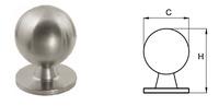 Tirador para puerta, de bola de acero inoxidable mod 8001 con roseta.